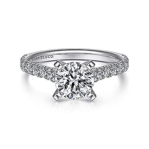 Gabriel - Erica 14k White Gold Round Straight Engagement Ring