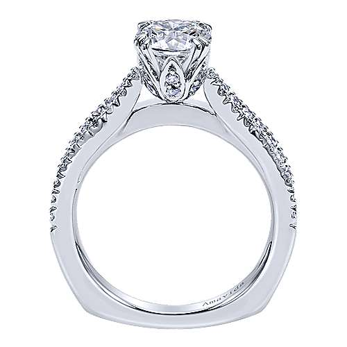 Erin 18k White Gold Round Split Shank Engagement Ring angle 2