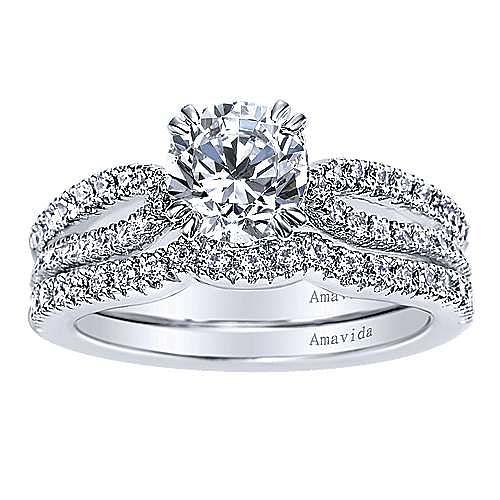 Erin 18k White Gold Round Split Shank Engagement Ring angle 4