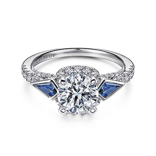 Eros 18k White Gold Round 3 Stones Halo Engagement Ring angle 1