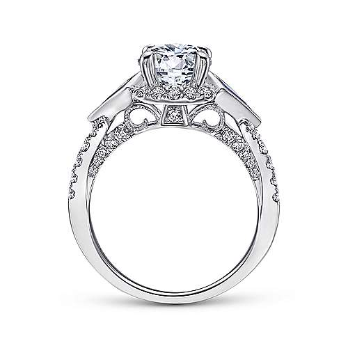 Eros 18k White Gold Round 3 Stones Halo Engagement Ring angle 2