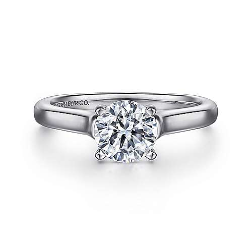 Esme 14k White Gold Round Solitaire Engagement Ring angle 1