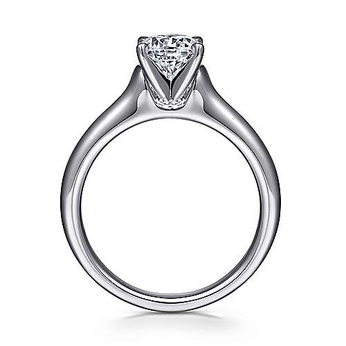 Esme 14k White Gold Round Solitaire Engagement Ring angle 2