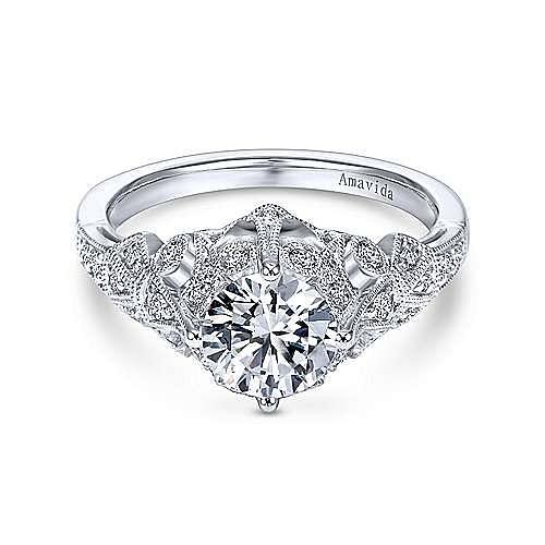 Esmerelda Platinum Round Straight Engagement Ring angle 1
