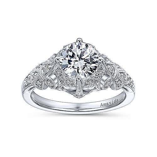 Esmerelda Platinum Round Straight Engagement Ring angle 5