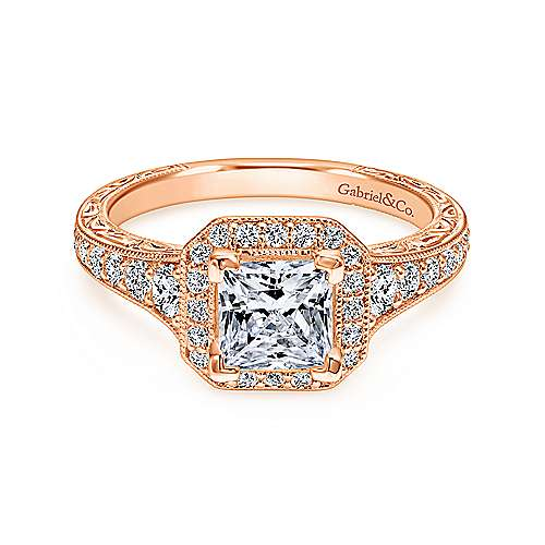 Estelle 14k Rose Gold Princess Cut Halo Engagement Ring ... 2d8ea3d7beb6