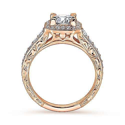Estelle 14k Rose Gold Princess Cut Halo Engagement Ring angle 2