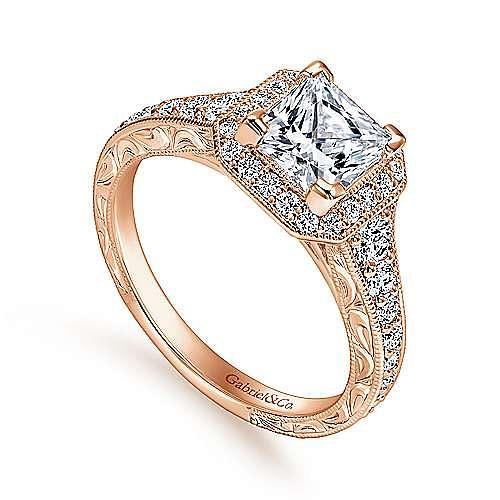 Estelle 14k Rose Gold Princess Cut Halo Engagement Ring angle 3