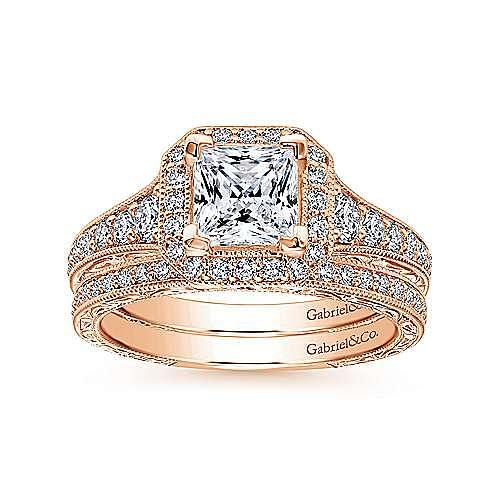 Estelle 14k Rose Gold Princess Cut Halo Engagement Ring angle 4