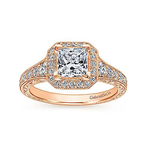 Estelle 14k Rose Gold Princess Cut Halo Engagement Ring angle 5