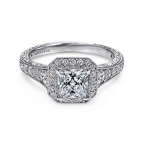 Gabriel - Estelle 14k White Gold Princess Cut Halo Engagement Ring