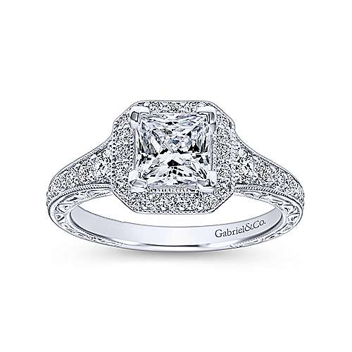 Estelle 14k White Gold Princess Cut Halo Engagement Ring angle 5