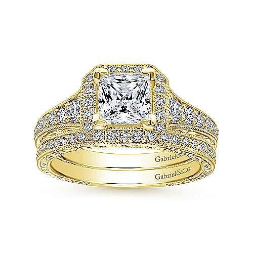 Estelle 14k Yellow Gold Princess Cut Halo Engagement Ring angle 4