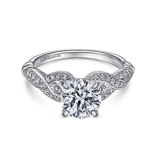 Estrella 18k White Gold Round Twisted Engagement Ring angle 1