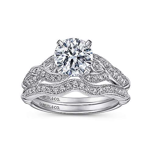 Estrella 18k White Gold Round Twisted Engagement Ring angle 4