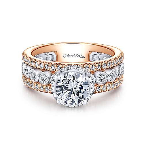 Gabriel - Ethel 18k White And Rose Gold Round Straight Engagement Ring