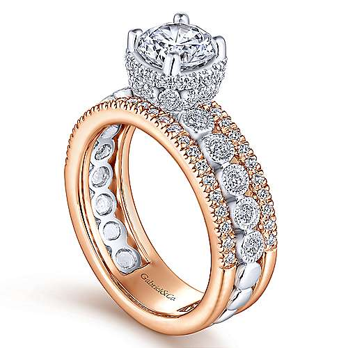 Ethel 18k White And Rose Gold Round Straight Engagement Ring angle 3