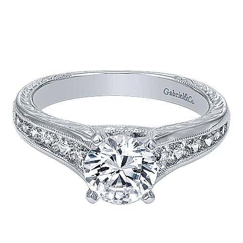 Etta 14k White Gold Round Straight Engagement Ring angle 1