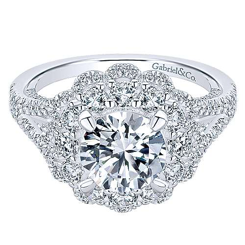Gabriel - Euphoria 18k White Gold Round Double Halo Engagement Ring