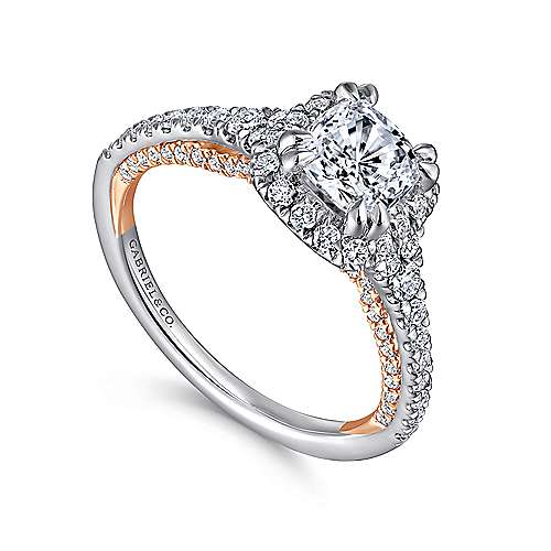 Eva 18k White And Rose Gold Cushion Cut Halo Engagement Ring angle 3