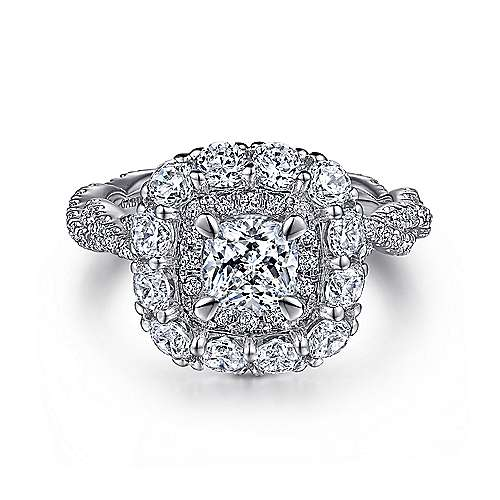 Evangelina 14k White Gold Cushion Cut Double Halo Engagement Ring angle 1