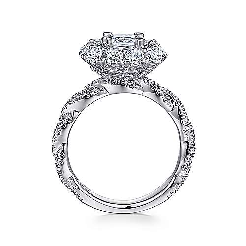 Evangelina 14k White Gold Cushion Cut Double Halo Engagement Ring angle 2