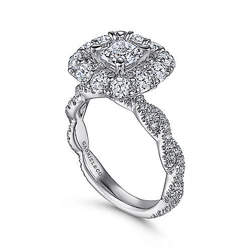 Evangelina 14k White Gold Cushion Cut Double Halo Engagement Ring angle 3