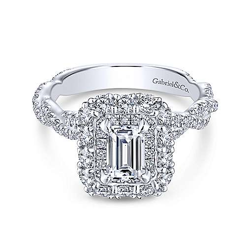 Evangelina 14k White Gold Emerald Cut Double Halo Engagement Ring angle 1