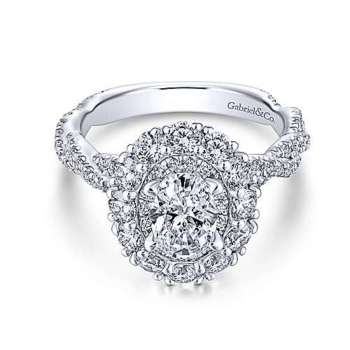 Evangelina 14k White Gold Oval Double Halo Engagement Ring angle 1