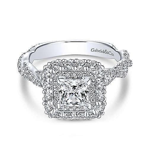 5ca387be2e099b Evangelina 14k White Gold Princess Cut Double Halo Engagement Ring ...