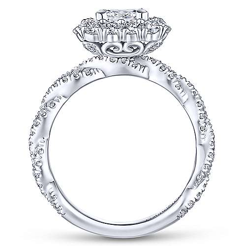 Evangelina 14k White Gold Princess Cut Double Halo Engagement Ring angle 2
