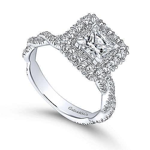 Evangelina 14k White Gold Princess Cut Double Halo Engagement Ring