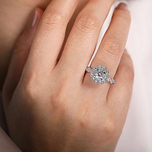 Evangelina 14k White Gold Round Double Halo Engagement Ring