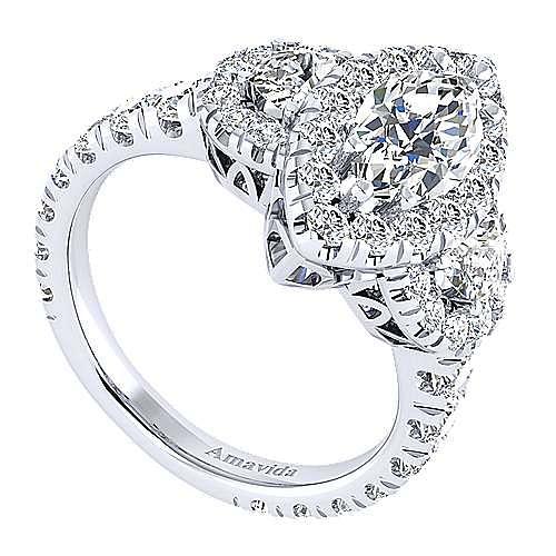 Eve 18k White Gold Marquise  3 Stones Halo Engagement Ring