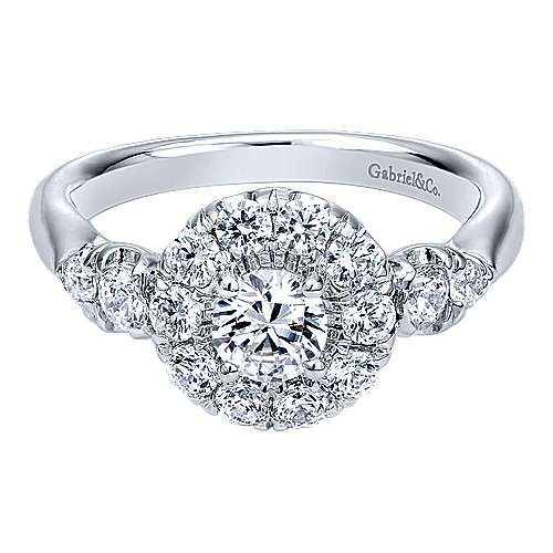 Everlasting 14k White Gold Round Halo Engagement Ring angle 1
