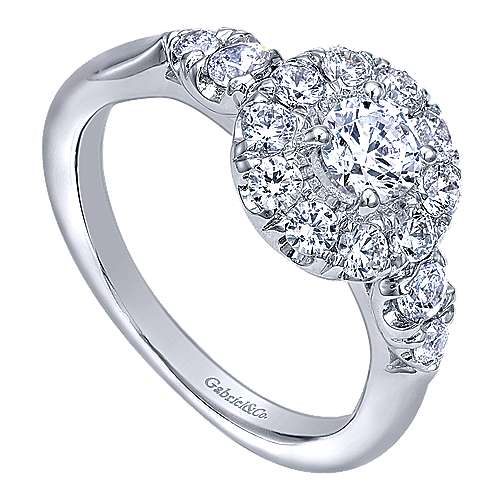 Everlasting 14k White Gold Round Halo Engagement Ring angle 3