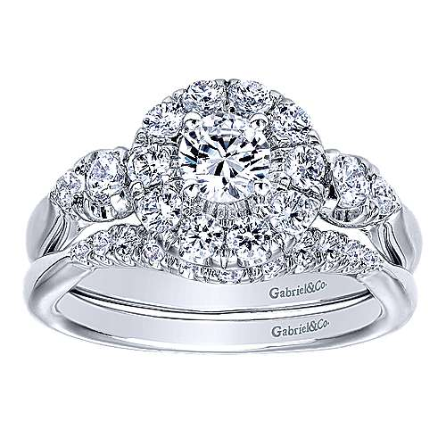 Everlasting 14k White Gold Round Halo Engagement Ring angle 4