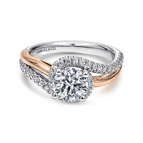 Everly 14k White And Rose Gold Round Bypass Engagement Ring angle 1