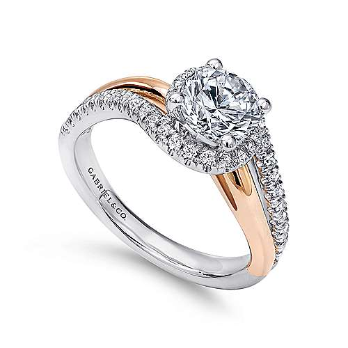 Everly 14k White And Rose Gold Round Bypass Engagement Ring angle 3