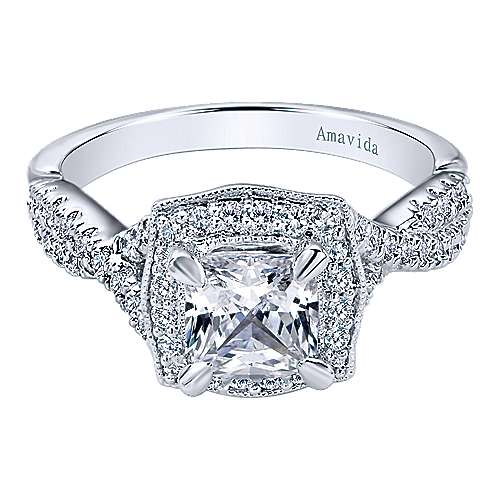 Gabriel - Exquisite 18k White Gold Cushion Cut Halo Engagement Ring