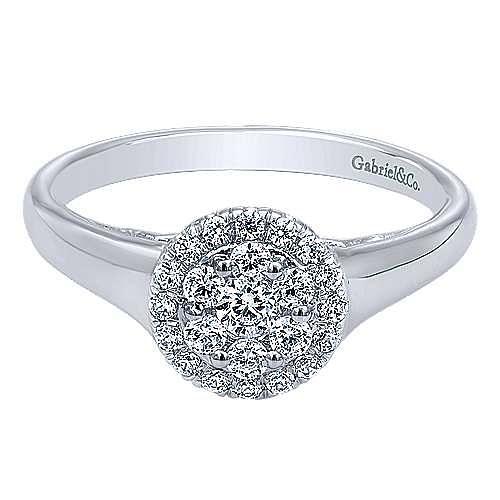 Gabriel - Fabie 14k White Gold Round Halo Engagement Ring