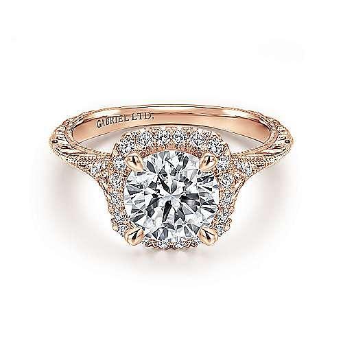 Gabriel - Faith 18k Rose Gold Round Halo Engagement Ring