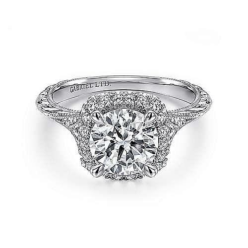 Faith 18k White Gold Round Halo Engagement Ring angle 1