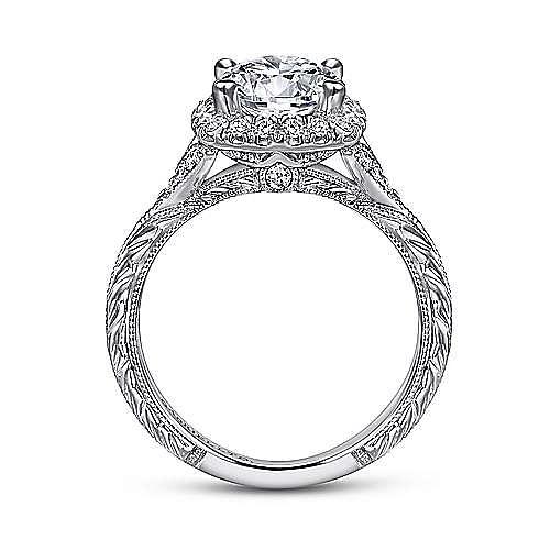 Faith 18k White Gold Round Halo Engagement Ring angle 2