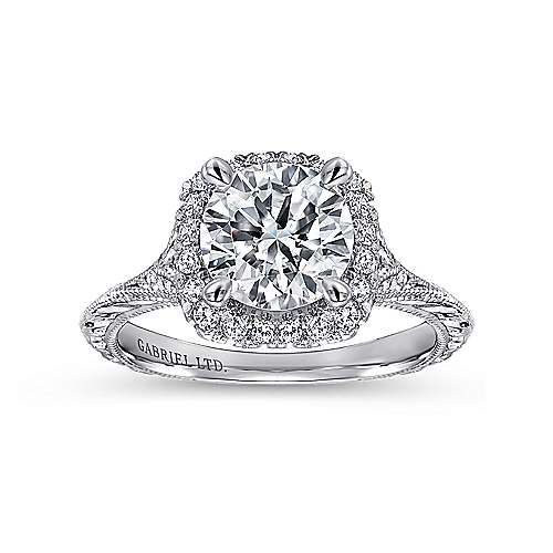 Faith 18k White Gold Round Halo Engagement Ring angle 5