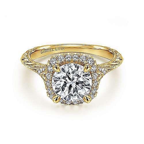 Gabriel - Faith 18k Yellow Gold Round Halo Engagement Ring