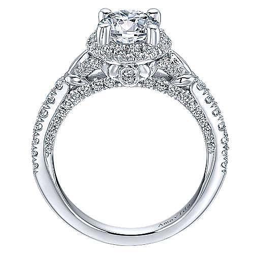 Fame 18k White Gold Round Halo Engagement Ring angle 2