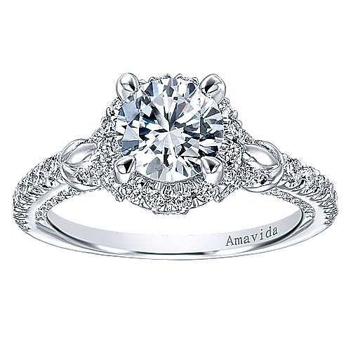 Fame 18k White Gold Round Halo Engagement Ring angle 5