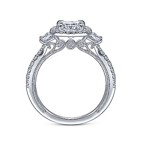 Farah 14k White Gold Cushion Cut 3 Stones Halo Engagement Ring angle 2