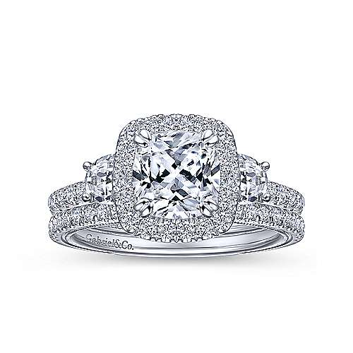 Farah 14k White Gold Cushion Cut 3 Stones Halo Engagement Ring angle 4